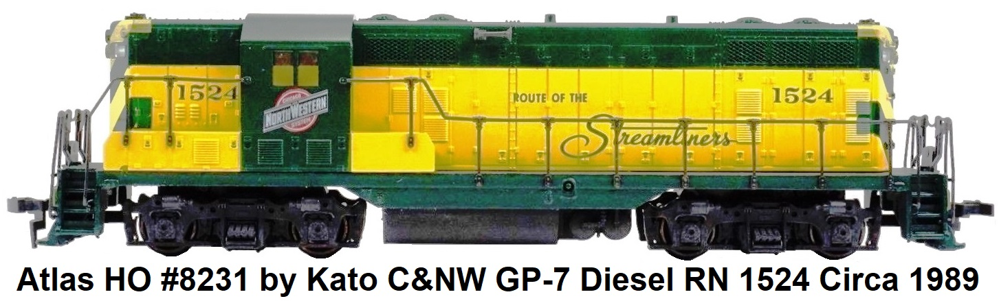 Atlas HO #8231 by Kato C&NW Chicago & North Western GP-7 Diesel Locomotive RN 1524 circa 1989