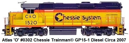 Atlas 'O' #0302-1 Chessie System Trainman® GP15-1 diesel Locomotive circa 2007
