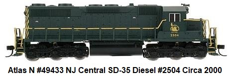 Atlas 49673 N Scale Central NJ SD35 #2506
