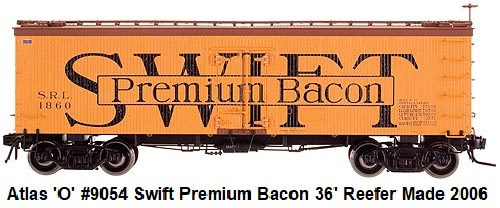 Atlas 'O' scale Swifts Premium Bacon 36' Wood Side Reefer 2-rail #9054 circa 2006