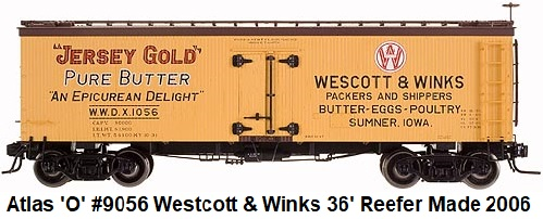 Atlas 'O' Westcott & Winks 36' Wood Side Reefer 2-rail #9056 circa 2006