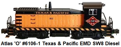 Atlas 'O' #6106-1 Texas & Pacific EMD SW8 Diesel Locomotive, 3-rail version