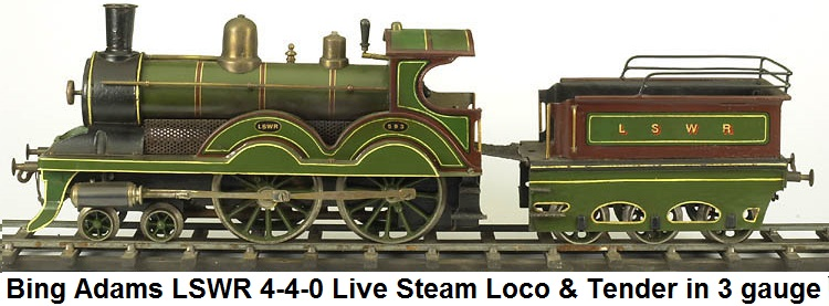 Bing Adams LSWR 4-4-0 Steam Engine & Tender in 3 gauge