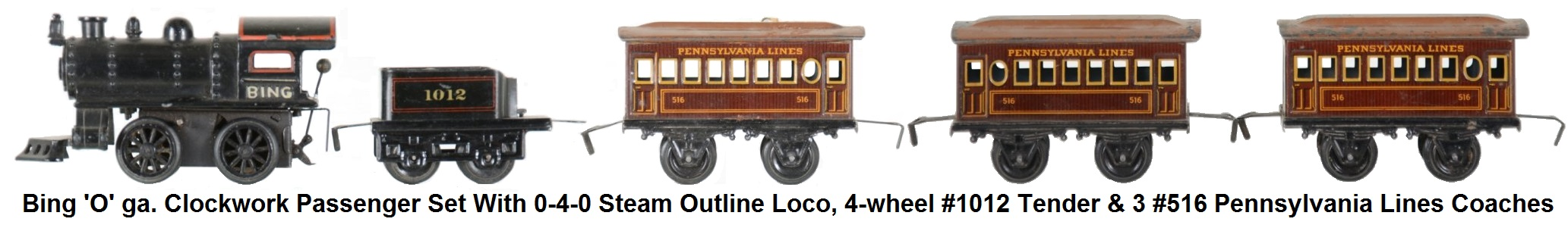 Bing 'O' gauge clockwork passenger set made for American market with diecast 0-4-0 steam outline loco, #1012 tender and 3 #516 Pennsylvania Lines coaches