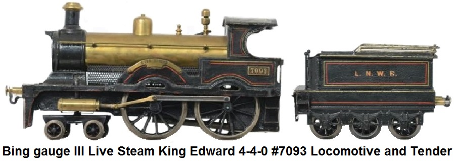 Bing Gauge 3 Live Steam 4-4-0 King Edward Locomotive #7093 and 6-wheel Tender, in LNWR red and black livery