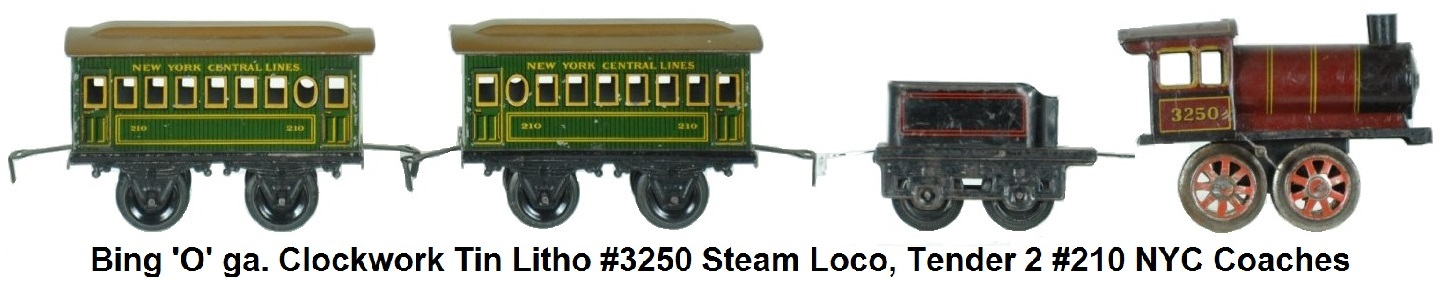 Bing 'O' gauge Clockwork litho tin #3250 steam loco, 4-wheel tender and 2 #210 NYC coaches
