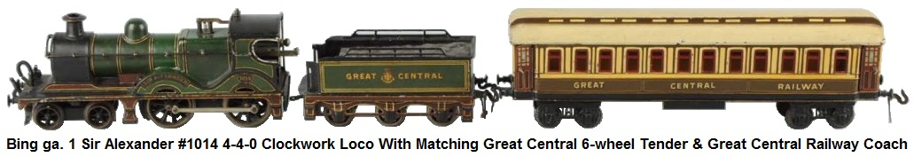 Bing gauge 1 Sir Alexander #1014 Loco with matching Great Central tender and one Great Central passenger car