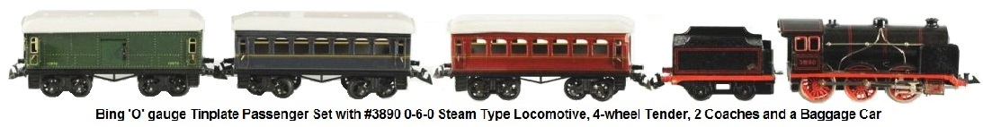 Bing 'O' gauge Tin plate passenger set includes #3890 0-6-0 Steam type engine, 4-wheel tender, 2 coaches and a baggage wagon