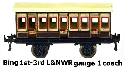 L&NWR 1st-3rd class 4 wheel coach in 1 gauge