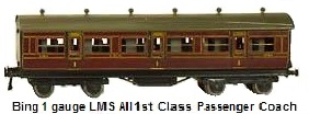 Bing by Carette 2 LMS Postal Vans and a 1st class coach in 1 gauge