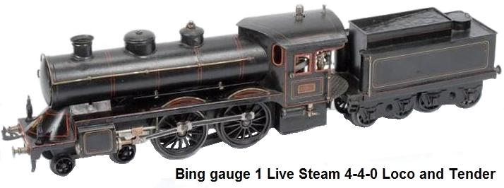 Bing gauge 1 Live Steam 4-4-0 Loco and Tender black No.1902