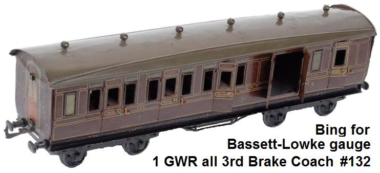 Bing for Bassett-Lowke gauge 1 GWR all 3rd Brake Coach No.132