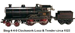 A Bing Clockwork driven Steam Outline Loco & tender circa 1922