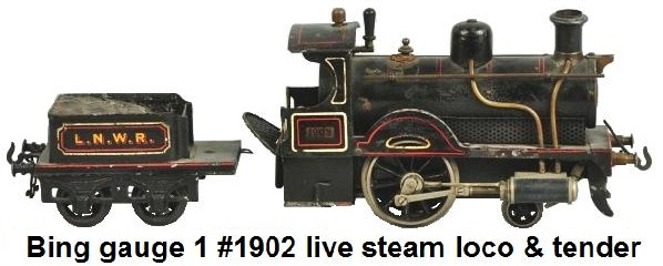 Bing Gauge 1 No. 1902 live Steam Loco & Tender