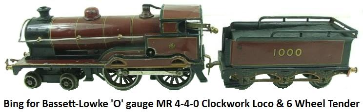 Bing For Bassett-Lowke 'O' gauge MR 4-4-0 Loco & Tender RN 1000 clockwork circa 1923