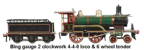 Bing gauge 2 clockwork 4-4-0 locomotive with 6 wheel tender