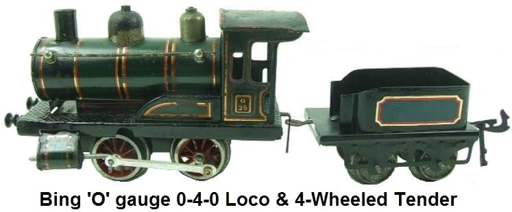 Bing 'O' gauge 0-4-0 Loco & 4-Wheeled Tender