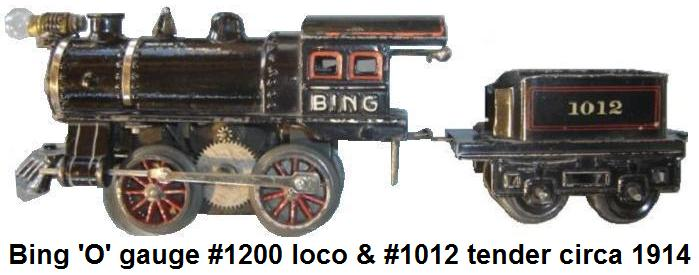 Bing 'O' gauge cast iron #1200 loco and 1012 tender circa 1914