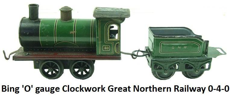 Bing 'O' gauge GNR 0-4-0 Loco & Tender clockwork