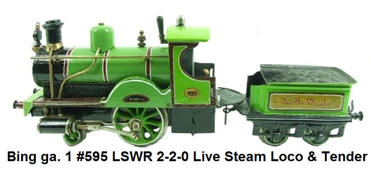 Bing gauge 1, LSWR 2-2-0 Loco & Tender, #S95, Live Steam