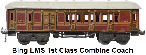 Bing LMS first class combine coach with complete interior lithographed sides, hand painted roof, die cast spoked wheels and seven opening doors