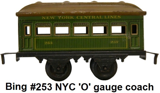 Bing 'O' gauge NYC #253 4-wheel passenger coach made for the American market
