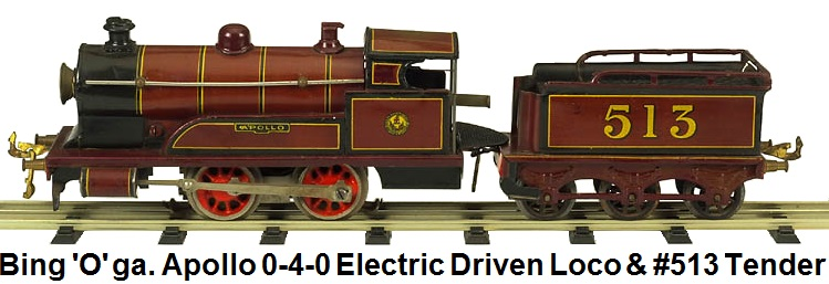 Bing 'O' gauge Apollo 0-4-0 Electric driven steam outline Locomotive and #513 6-wheel tender