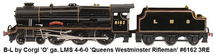 Bassett-Lowke by Corgi 'O' Gauge modern issue Loco and Tender Queens Westminster Rifleman LMS black #6162, 3-Rail Electric No.195 of a limited production
