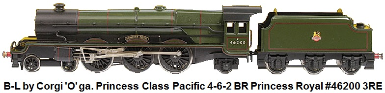 Bassett-Lowke by Corgi 'O' gauge modern issue Princess Class Pacific Locomotive 4-6-2 Loco and Tender BR green Princess Royal #46200, 3-Rail Electric number 249 of a limited number of 350 produced