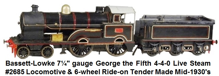 Bassett-Lowke 7¼ inch gauge George the Fifth 4-4-0 Live Steam circa 1930's