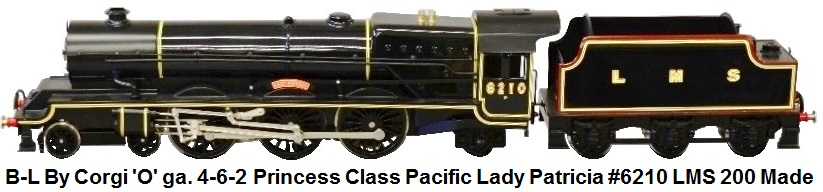Bassett-Lowke By Corgi 'O' gauge 4-6-2 Princess Class Pacific Locomotive Lady Patricia #6210 LMS Black Livery Limited Edition of just 200 made