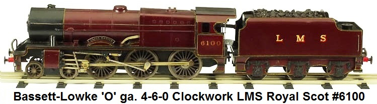 Bassett-Lowke 2-6-0 Royal Scot clockwork engine & tender in 'O' gauge