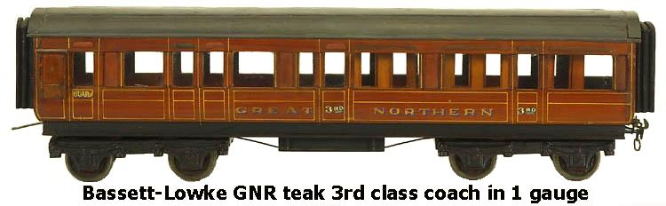 Bassett-Lowke Great Northern Railway Teak 3rd class coach in 1 gauge