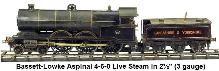Bassett-Lowke Aspinal 4-6-0 steam loco & tender in 2� gauge