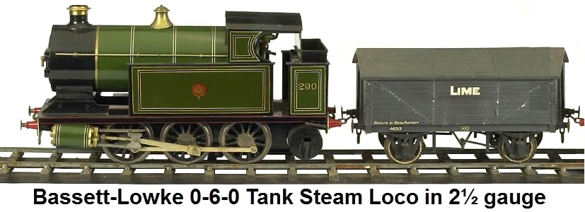 Bassett-Lowke 0-6-0 Tank Steam loco in 2� gauge
