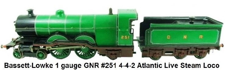 Bassett-Lowke gauge 1 Great Northern Railway 4-4-2 Atlantic #251 Live Steam locomotive & tender