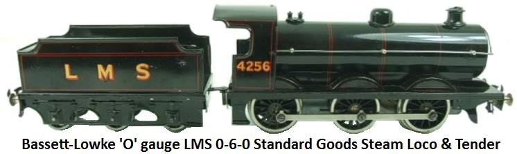 Bassett-Lowke 'O' gauge LMS Black 0-6-0 Standard Goods Loco & Tender #4755 Electric powered for 3 Rail 12 volt  DC operation