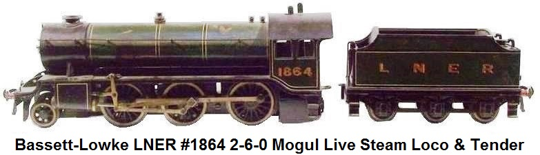 Bassett-Lowke LNER #1864 2-6-0 Steam Locomotive & Tender