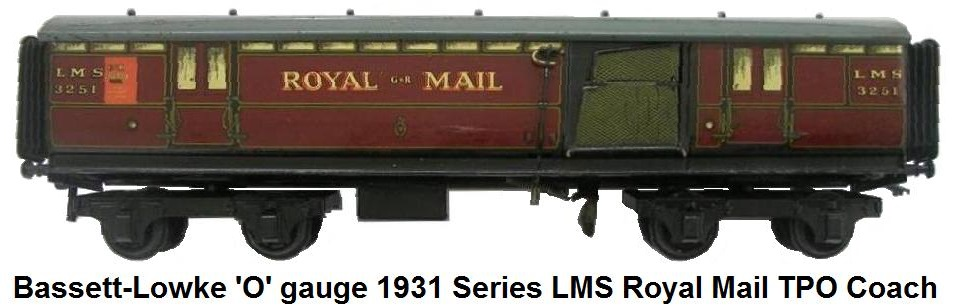 Bassett-Lowke 'O' gauge 1931 Series LMS Royal Mail TPO Coach