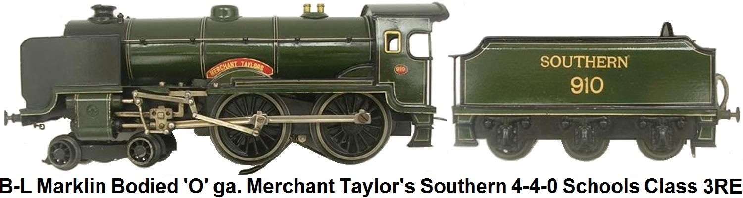 Bassett-Lowke Marklin bodied 'O' gauge Merchant Taylors 12 volt DC Electric Southern 4-4-0 Schools Class Locomotive and Tender