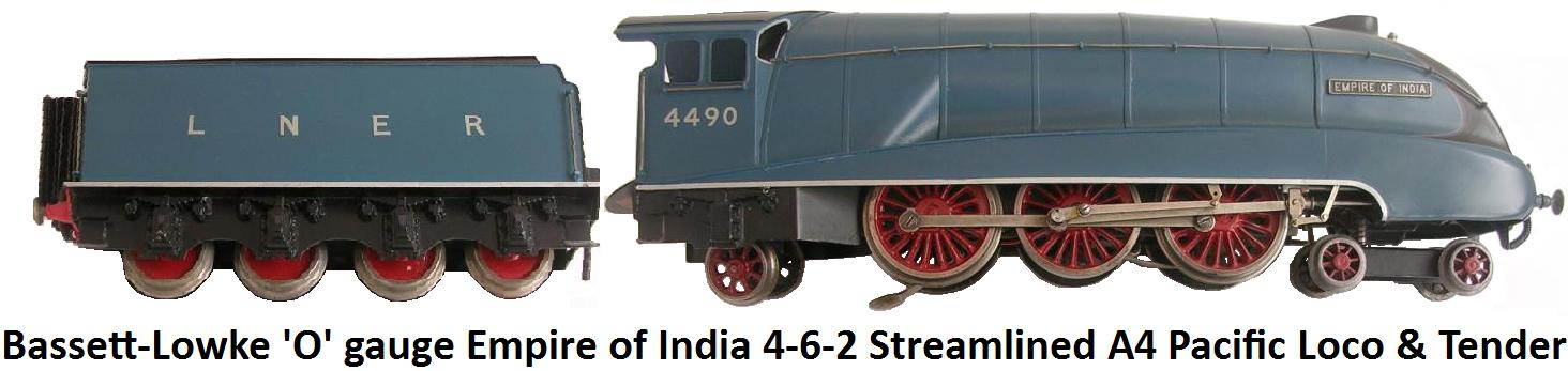 Bassett-Lowke 'O' gauge Empire of India Electric 4-6-2 Streamlined A4 Pacific Locomotive and Tender in LNER Blue livery