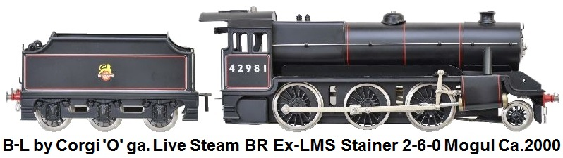 Bassett-Lowke 'O' gauge, live steam. 2-6-0 mogul in black British Railway livery