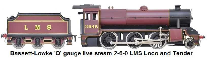Bassett-Lowke 'O' gauge LMS 1st and 3rd class coach 12 Volt DC electric from the Euston-Watford Set #3416