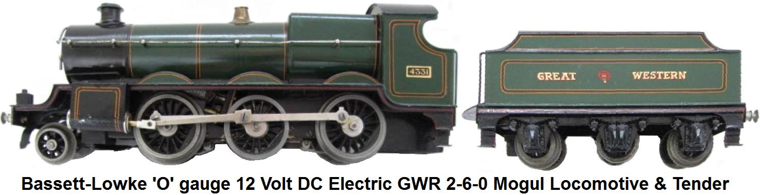 Bassett-Lowke 'O' gauge 12 Volt DC Electric GWR 2-6-0 Mogul Locomotive & Tender