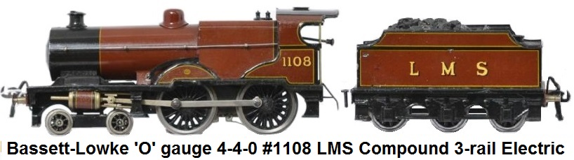 Bassett-Lowke 'O' gauge LMS Compound 4-4-0 Loco & Tender RN 1108 Electric 3 Rail 12v DC