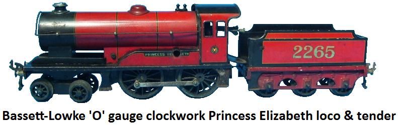 Bassett Lowke 'O' gauge clockwork Princess Elizabeth loco and tender