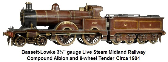 Bassett-Lowke 3 1/4in gauge live steam Midland Compound Albion and 8-wheel tender