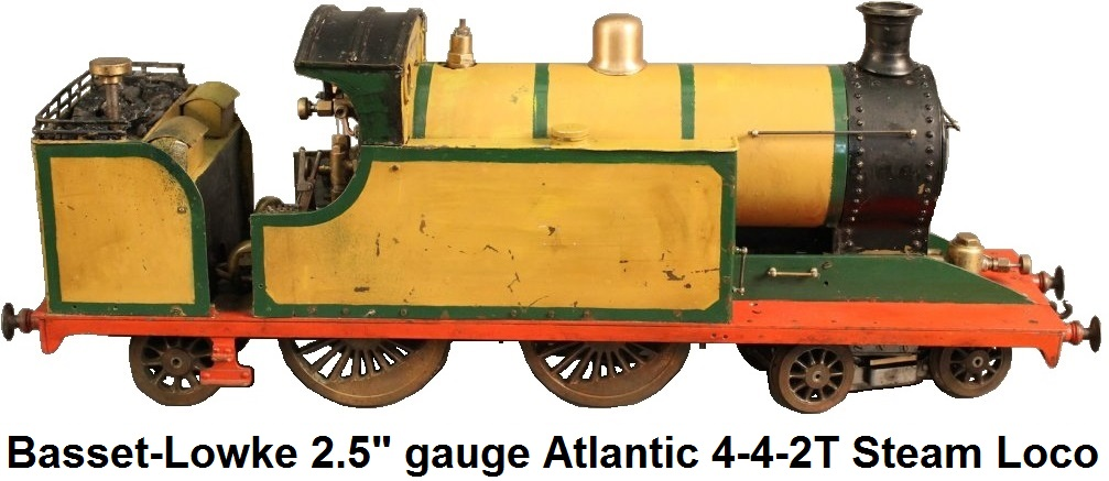 Bassett-Lowke 2.5 inch gauge 4-4-2T Atlantic Tank live steam spirit burning loco with water-tube boiler and drywall firebox, Joy valvegear, third eccentric for water pump, 4-4-2 wheel arrangment