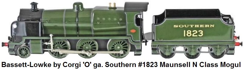 Bassett-Lowke by Corgi 'O' gauge Southern green #1823 Maunsell N Class Mogul 2-6-0 locomotive and tender catalog number BL99054 Limited Edition