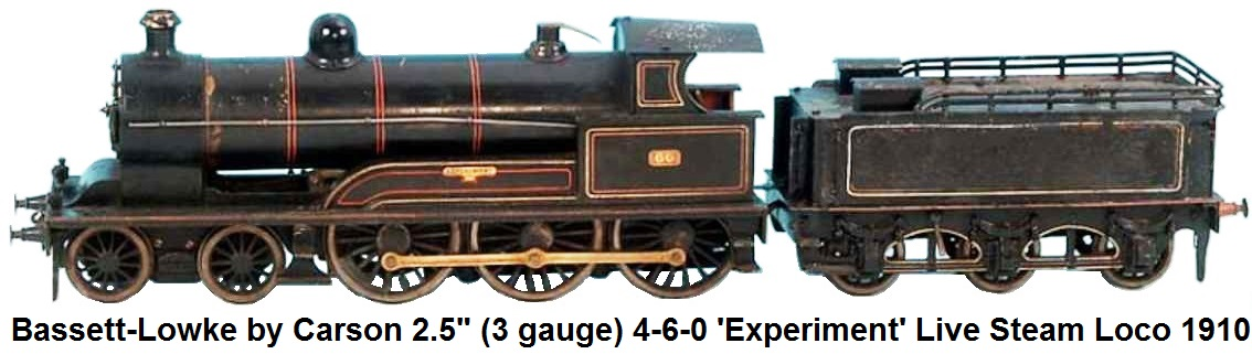 Bassett-Lowke by Carson 2.5 inch (3 gauge) 4-6-0 Experiment Live Steam loco & tender circa 1910